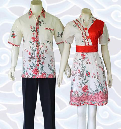 Jual baju batik sarimbit couple terbaru yang bisa berupa sepasang dress  terusan wanita 49ea86fc9f